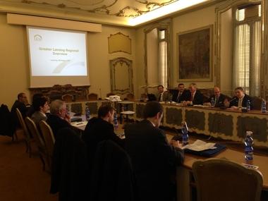 Lansing Mayor Virg Bernero and LEAP's Ray De Winkle met with Italian business leaders in Turin, Italy in November 2013.