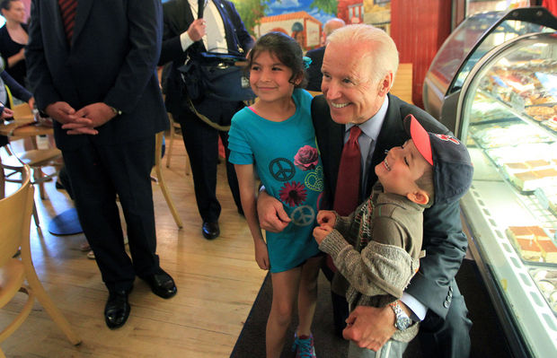 Vice President Joe Biden visits with locals at Presti's Bakery Wednesday, May 14, 2014, in Cleveland.